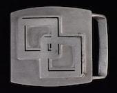 1980 39 s Square Geometric Retro Vintage Pewter Belt Buckle - John E McCann