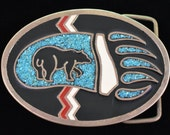 Bear Paw Track Turquoise Inlay Solid Brass Southwestern Vintage Belt Buckle