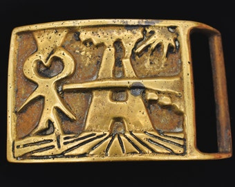 1970s Rare Solid Brass Crucifix Faces Studio Mid Century Modern Art Abstract Vintage Belt Buckle