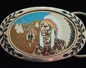 Native American Feather Headdress Village Pony Chief Solid Brass Vintage Belt Buckle