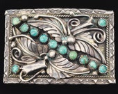Sterling Silver Floral Scroll Stem and Leaf Berry Turquoise Stones Handmade Vintage Belt Buckle