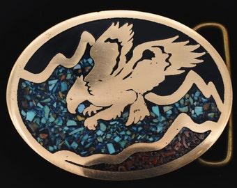 Quatrefoil Belt Buckle in Metallic Blue Enamel with Intricate Brocade Etchings Vintage Style Custom Colors Available
