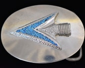 1980s Southwestern Crushed Turquoise Stone Inlay Arrowhead Nickel Silver Vintage Belt Buckle
