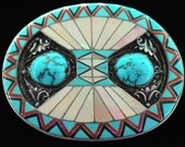 Sterling Silver Turquoise MOP Mother of Pearl Red Coral Onyx Inlay Handcrafted Artwork Artisan Vintage Belt Buckle