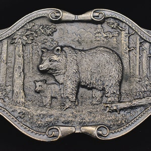 Angry Bear Charge 1970s Vintage Pewter Belt Buckle