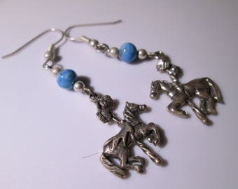 Vintage Sterling Silver Dangle Earring - Carousel Pony with Turquoise Bead