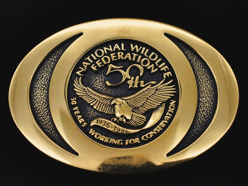 National Wildlife Federation Solid Brass Vintage Belt Buckle