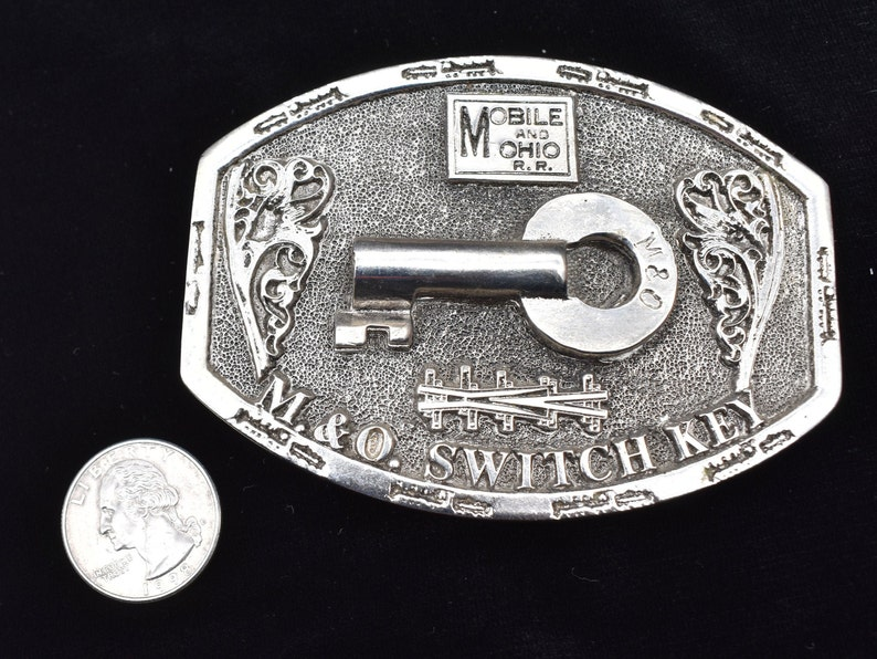 Mobile and Ohio Railroad Switch Key 1970s Vintage Belt Buckle