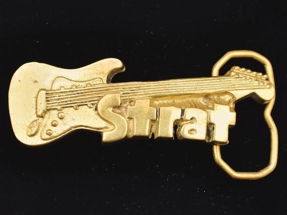 Strat Guitar Solid Brass 1970s Vintage Belt Buckle
