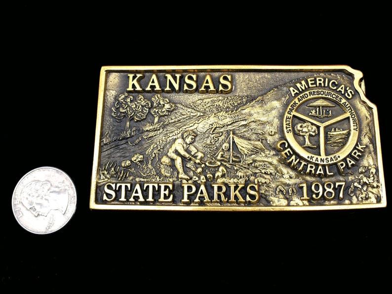 Kasas State Parks Solid Brass Vintage Belt Buckle