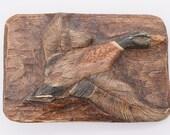 Mallard Drake Duck Wood Carving Vintage Belt Buckle - Artist Signed Jaqueline Stanfield