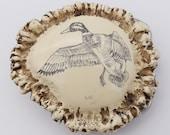 Mallard Drake Duck Faux Antler Burr Rosette Casting Imitation Scrimshaw Vintage Belt Buckle