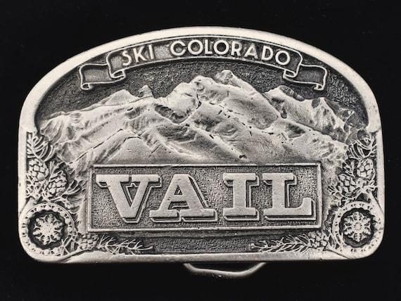 1970s Estes Park Colorado Ski Resort Slopes Downhill Mountain Rockies Powder Day Vintage Belt Buckle CDC Metalworks