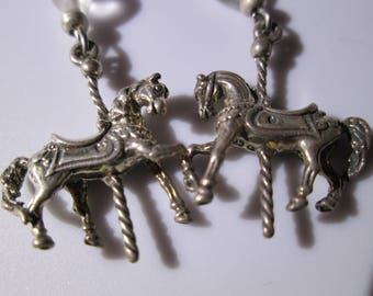 Vintage Sterling Silver Dangle Earring - Carousel Pony with Clear Glass Heart Bead