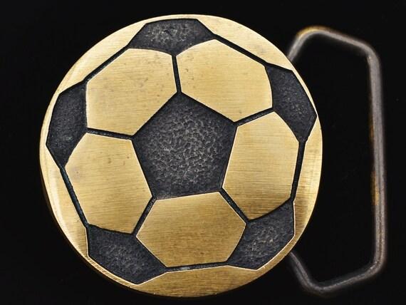 Solid Brass Soccer Ball 1970s Vintage Belt Buckle