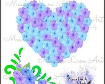 Heart Blue Purple, Flower-Scrapbooking Digital Floral Embellishments-Instant Clip Art- Commercial Use