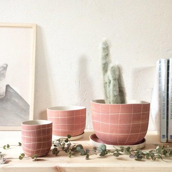 Pot de fleurs rose