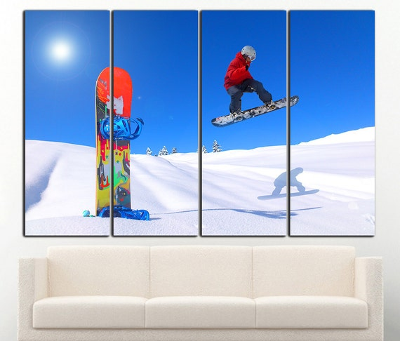 Snowboard wall art Snowboard wall decor Snowboard canvas | Etsy