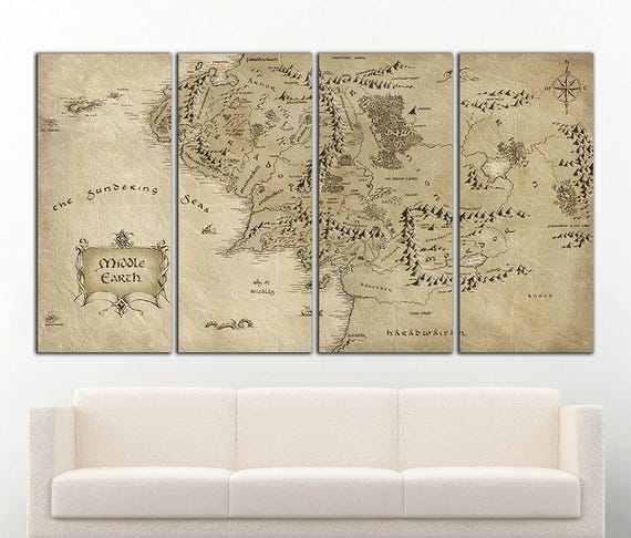 Middle Earth Map wall art Middle Earth canvas Middle Earth   Etsy