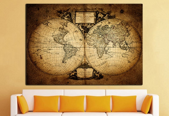Old World Map Canvas Print Vintage Map Wall Art World Map Wall | Etsy