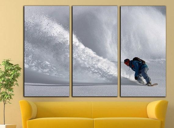 snowboard canvas snowboard print snowboard wall art snowboard | Etsy