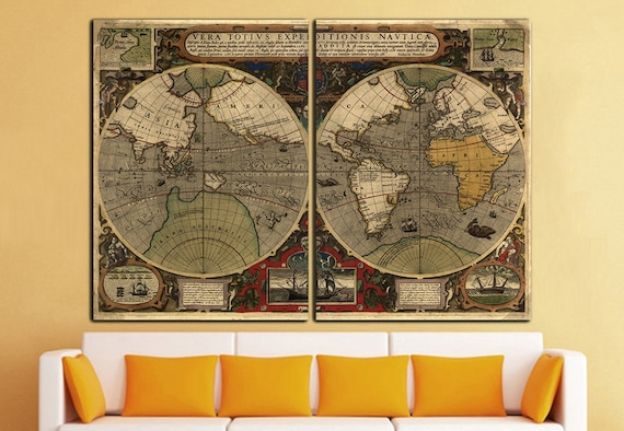 Old World Map Canvas Print Vintage Map Wall Art World Map Wall Etsy