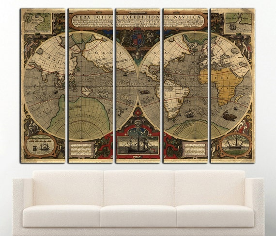 Old World Map Canvas.Old World Map Canvas Print Vintage Map Wall Art World Map Wall Etsy