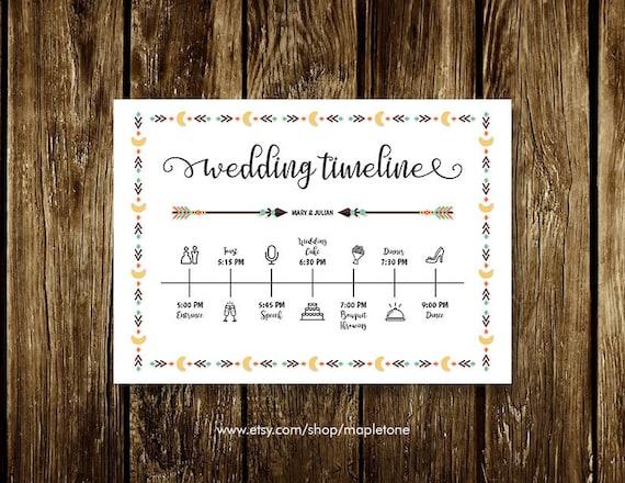 wedding schedule timeline order of service wedding program etsy