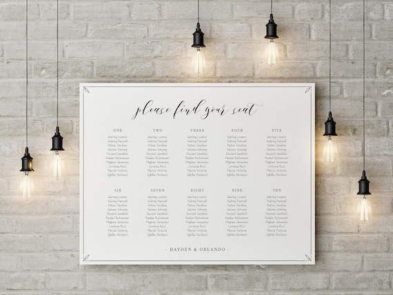 simple seating table wedding seating table chart wedding etsy