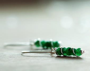 Sterling silver Emerald gemstone earrings | Natural genuine Emerald earrings | May birthstone earrings | Real green Emerald beaded earrings