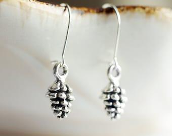 Dainty silver pine cone earrings | Petite woodland earrings | Tiny dangling pinecone earrings | Sterling silver earrings | Gift for her
