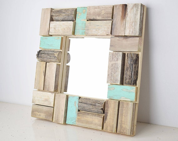 Situ. Mosaic mirror frame, turquoise blue, antiqued wood polygonal cutouts. For make-up and ornamental.