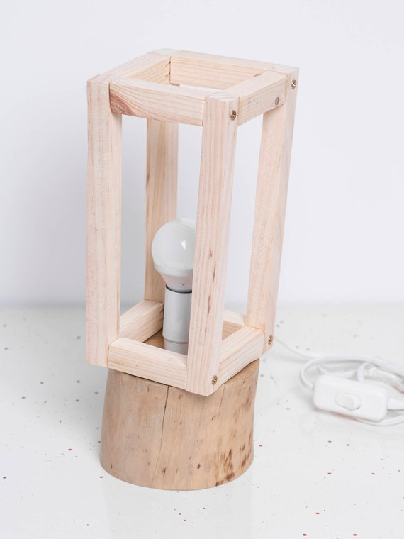 I rhyme. Primitive pine wood lamp. Table and free standing.