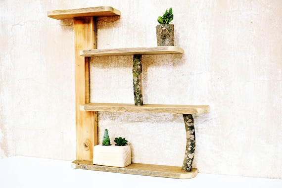 Wall-mounted shelving unit, four away, new pine wood and rescued