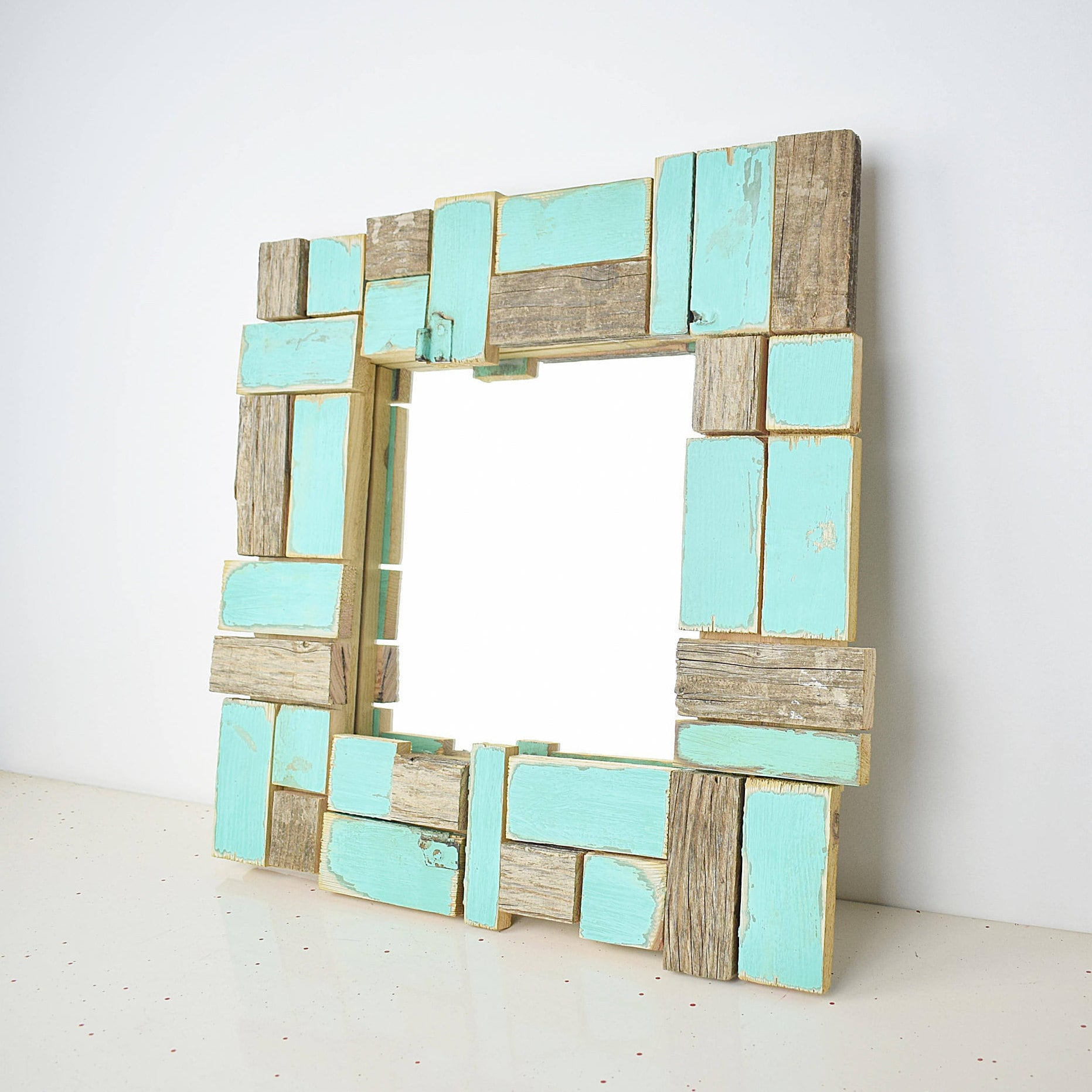 Fewe. Mosaic mirror frame, turquoise blue, antiqued wood polygonal ...