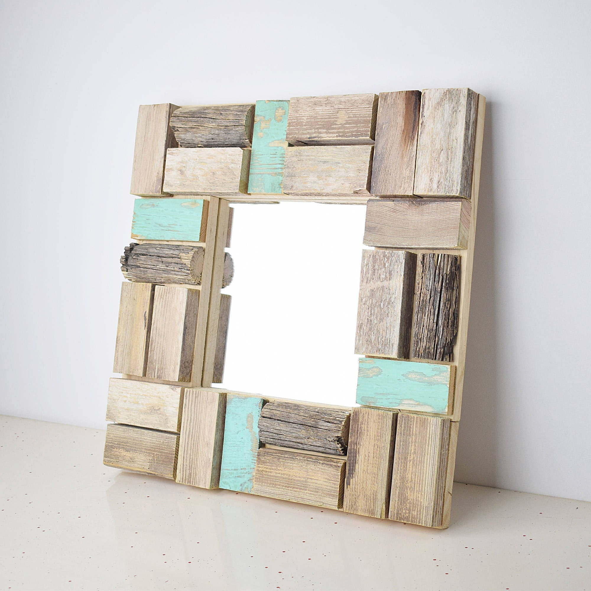 Situ. Mosaic mirror frame, turquoise blue, antiqued wood polygonal ...