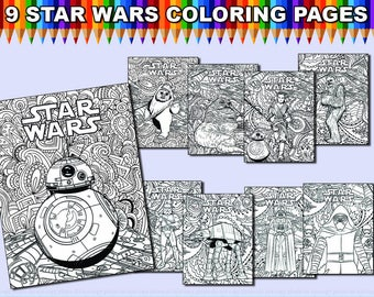 INSTANT DL Star Wars Printable Coloring Pages Kids And Adults