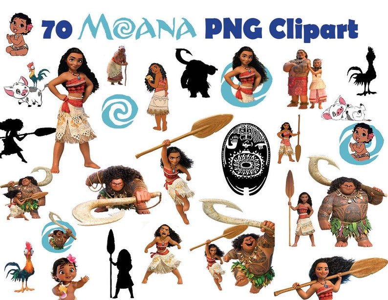 INSTANT DL- 70x Moana clipart png - printable Digital Cliparts Graphic  sticker Instant Download