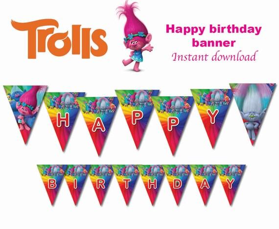 Instand DL Trolls bandera decoración del partido del | Etsy