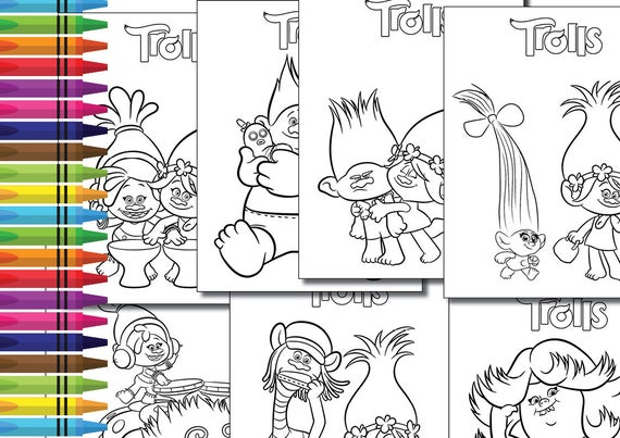 Instand Dl Trolls Coloring Pages Activity Birthday Printable Party Decoration Non Personalized
