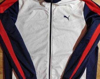 Puma 90 s Vintage Mens Tracksuit Top Jacket White Navy Blue b4c51bbd5cbd4