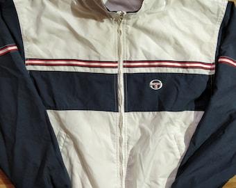 54285f436e8 Sergio Tacchini 90 s Vintage Mens Tracksuit Top Jacket White Navy Blue
