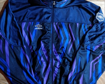 575fdc93fe Umbro 90's Vintage Mens Tracksuit Top Jacket Training Navy Blue Purple