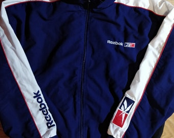 879dfd7505e996 Reebok 90 s Vintage Mens Tracksuit Top Jacket Navy Blue White Hype Big Logos