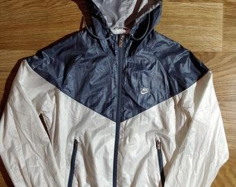7835685d3 Nike Vintage Womens Hoodie Tracksuit Jacket Hooded Windbreaker Nylon Gray  White