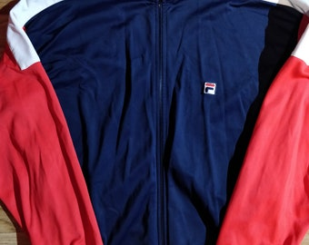 e4f44be07026 Fila Italy 90 s Vintage Mens Tracksuit Top Jacket Navy Blue Red Hype Classic