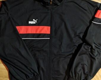 PUMA 90er Vintage Herren Trainingsanzug oben Jacke Navy Blau