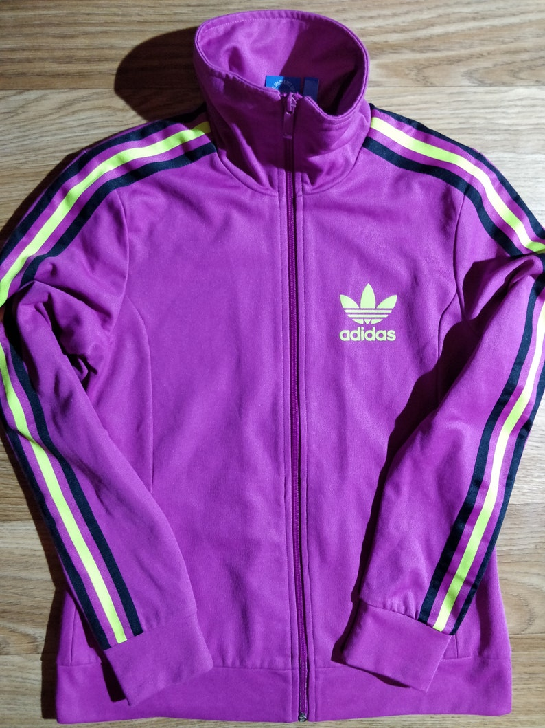 Adidas Womens Tracksuit Top Jacket Navy Blue White Striped