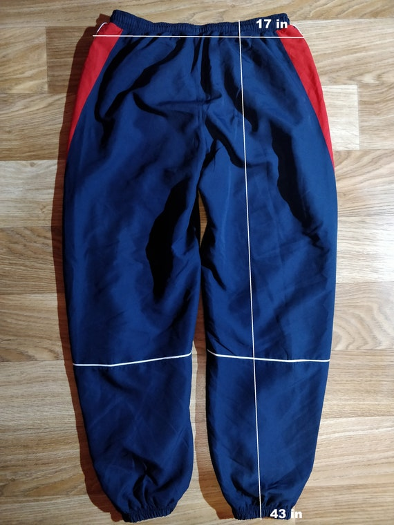 Reebok 90's Vintage Mens Tracksuit Pants Trousers Navy Blue Red Hype Training