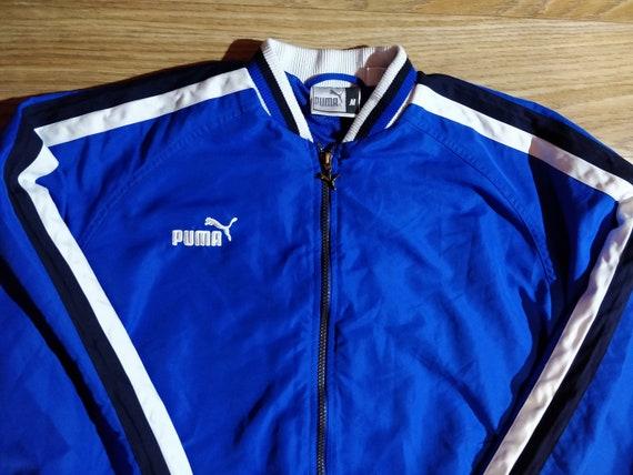 PUMA King 90er Vintage Herren Trainingsanzug oben Jacke blau weiß